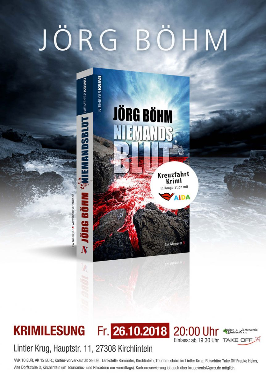 "Bestseller-Autor Jörg Böhm liest am 26. Oktober 2018 aus dem neuen Kreuzfahrtkrimi ""Niemandsblut"""